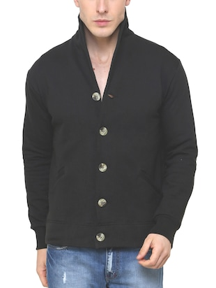 black fleece casual jacket