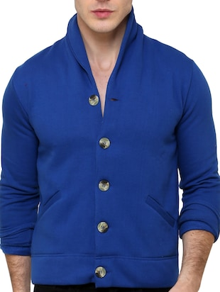blue fleece casual jacket