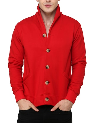 red fleece casual jacket