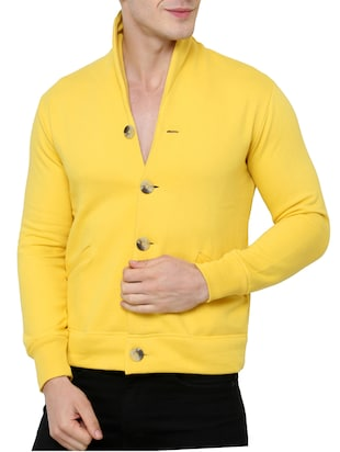 yellow fleece casual jacket