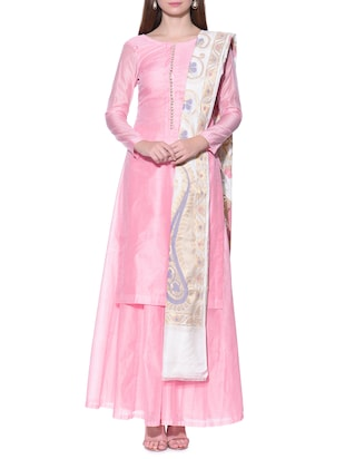 Pink stitched sharara suit set