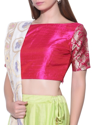 Pink raw silk Blouse with Brocade sleeves