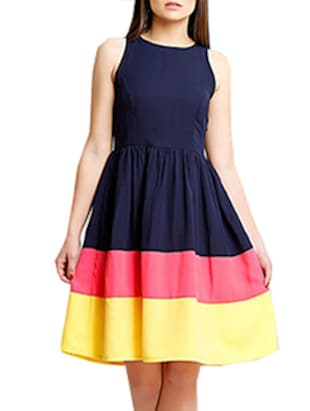 navy blue colour block crepe dress