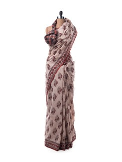 Off-white And Maroon Printed Cotton Saree - Nanni Creations