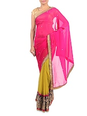 Pink And Lime Embroidered Georgette Saree - By