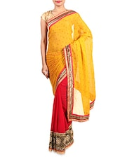 Yellow And Red Embroidered Georgette Saree - By