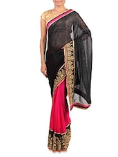 Black And Pink Embroidered Georgette Saree - By