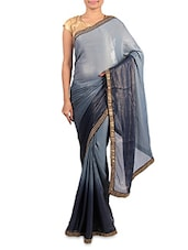 Shaded Grey Georgette Saree - By