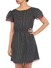 Tiny Polka Dot Printed Puff Sleeves Georgette Dress - RIGOGLIOSO