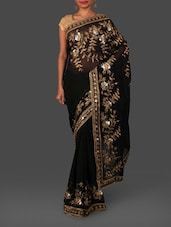 Black Floral Embroidered Georgette Saree - By