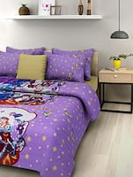 purple disney princess cotton double bedsheet set -  online shopping for bed sheet sets