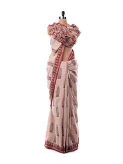 Off-white Booti Print Cotton Saree - Nanni Creations