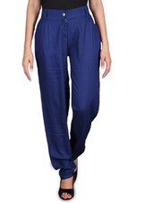 Solid Blue Rayon Pants - By