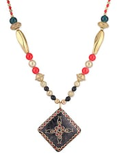 Gold Metallic Stone Studded Necklace With Pendant - By