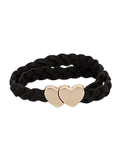 Black Faux Leather Band With Magnet Heart Lock - By