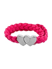 Pink Faux Leather Band With Magnet Heart Lock - By