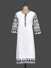 White Plain Cotton Kurta With Printed Sleeves - SHREE