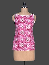 Pink Printed Cotton Sleeveless Top - SHREE