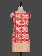 Red Printed Cotton Sleeveless Top - By