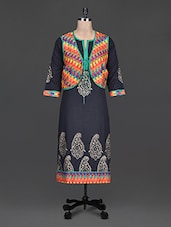 Black Plain And Block Printed Cotton Kurta - SHREE