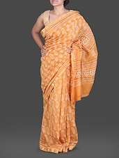 Orange Hand Block Printed Silk Cotton Saree - Maandna