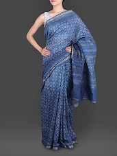 Blue Hand Block Printed Silk Cotton Saree - By