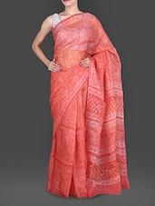 Coral Hand Block Printed Pure Silk Kota Saree - Maandna