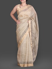 Beige Hand Block Printed Silk Cotton Saree - Maandna