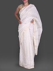 Off White Hand Block Printed Silk Cotton Saree - Maandna