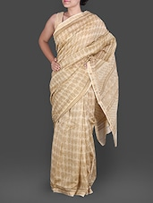 Beige Hand Block Printed Silk Cotton Saree - By