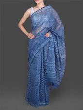 Blue Daboo Printed Silk Cotton Saree - By