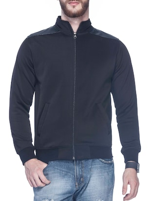 black polyester casual jacket