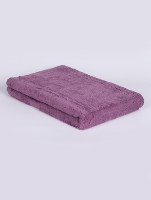 Purple color cotton terry bath towel