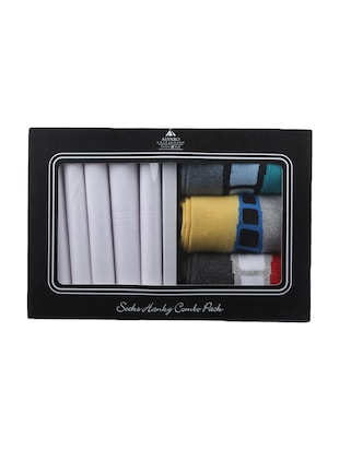 multi colored, cotton set of 5 handkerchief and 3 pair of socks -  online shopping for Handkerchiefs