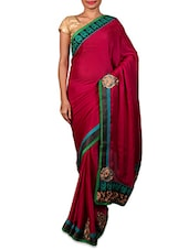 Dark Pink Embroidered Satin Chiffon Saree - By