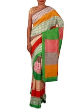 Multicoloured Printed Bhagalpuri Silk Saree - By