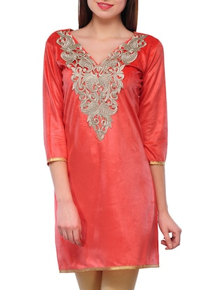 red georgette straight kurta
