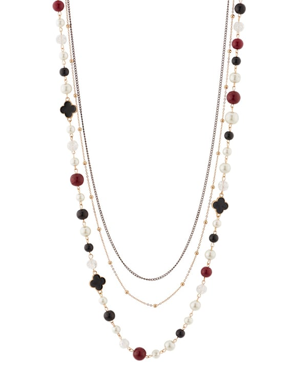 Multi Metal Long Necklace - By