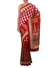 Red Printed Art Silk Saree - Fabdeal