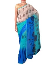 Blue Ombre Printed Georgette Saree - By