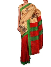 Printed Beige And Red Art Silk Saree - By