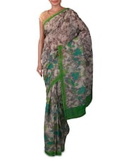 White Floral Printed Linen Silk Saree - Fabdeal