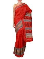 Orange Printed Bhagalpuri Silk Saree - Fabdeal