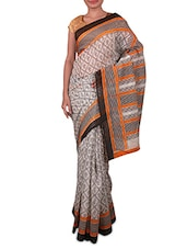 White And Grey Printed Linen Silk Saree - Fabdeal - 1190965