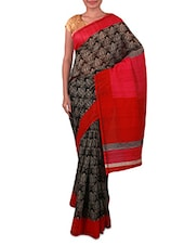 Grey And Black Printed Linen Silk Saree - Fabdeal