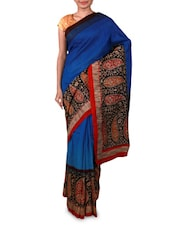Printed Royal Blue Art Silk Saree - By