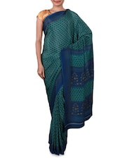 Floral Print Teal Blue Crepe Saree - By