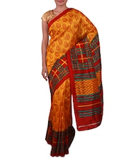 Yellow Printed Bhagalpuri Silk Saree - Fabdeal