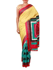 Printed Yellow And Green Crepe Saree - By