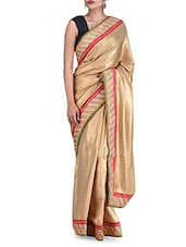 Zardosi Embroidered Gold Silk Saree - By
